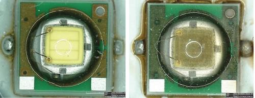 Figure 1. If an incompatibility exists between the LED and VOCs, the LEDs discolor rapidly, often within hours of exposure. Light output levels drop and changes in the quality of the light's color or chromaticity occur. Before and after photos show how output levels can deteriorate.