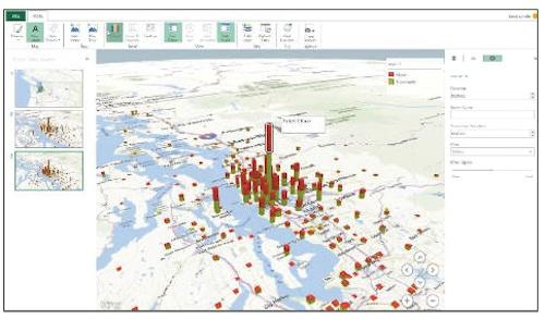 Video screen capture of Microsoft GeoFlow for Excel showing location data on a 3D map.