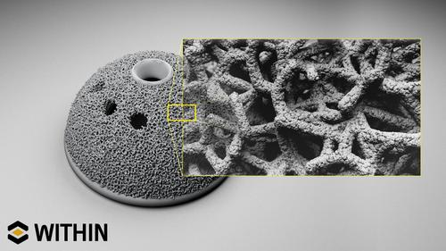 The titanium trabecular cup is an example of a complex small implant structure that can be designed and built with a customized, optimized structure and surface texture quickly and cost-effectively with additive manufacturing.   (Source: Within Technologies)