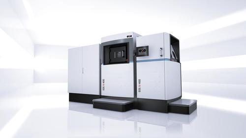 EOS believes additive manufacturing using metals is poised to take off rapidly. The new M 400 is aimed directly at making metal end-production parts, with larger build volume, a 1,000 W laser, and modular stations for set-up, process, and automated unpacking.   (Source: EOS)