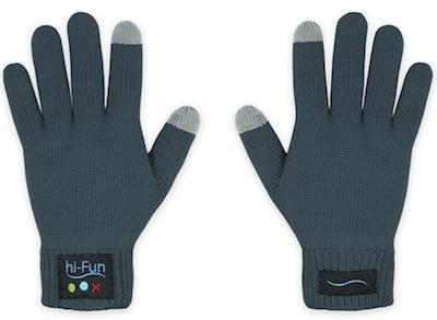 These gloves connect with your smartphone so you can have a conversation and keep your hands warm.   (Source: hi-Fun)