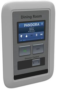 The Android-based bRight Switch system from Bellaxtrix Systems lets people program lights and other devices from a touchscreen interface on the wall. Shown here is bRight Switch's nLine Switchstreaming music from the Pandora website.(Source: Bellatrix Systems)