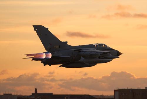 A 3D-printed metal aircraft end-production component has been successfully flown on a test flight conducted by BAE Systems for Britain's Royal Air Force. BAE Systems believes it is the first 3D-printed metal part to fly on a UK military jet, the Tornado, shown here on its test flight.   (Source: BAE Systems)