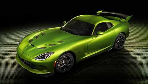 Chrysler's use of green paint served as one of the North American International Auto Show's biggest show stoppers. For the SRT Viper, the automaker unveiled a Stryker Green color -- a combination of 'enhanced green and yellow pigments' and a 'liquid mercury appearance.'(Source: Chrysler)