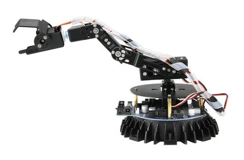 Global Specialties' Banshi Robotic Arm is controlled by a ATMEGA64 microcontroller that is programmable via open-source tools in C. The robot comes with many example programs already written. Or you can write your own custom programs using the free, open-source WinAVR software.  (Source: Global Specialities)