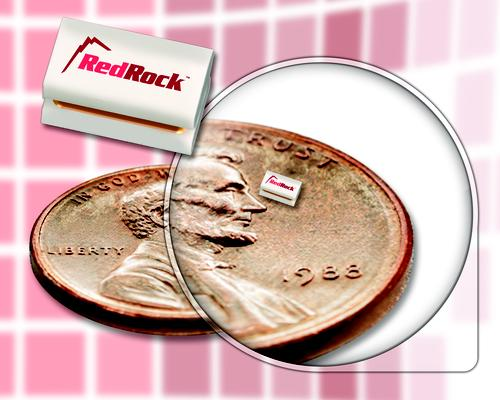 The RedRock MEMS reed switch is said to be the world's smallest, measuring just 1 mm x 1 mm on a side.   (Source: Coto Technology Inc.)