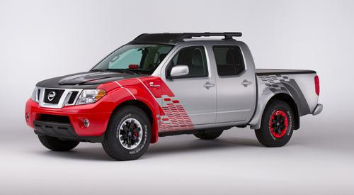 At the Chicago show, Nissan rolled out the Frontier Diesel Runner pickup, a 'project truck' that will help the company's executives gauge market reaction to a Nissan mid-size pickup with a diesel engine. Its 2.8-liter, four-cylinder Cummins diesel produces about 200 HP and 350 lb-ft of torque, while boosting fuel economy by 35 percent over a V-6-powered, two-wheel drive version of the Frontier.   (Source: Jeff Granbery for Nissan)