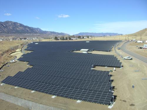 The Army's solar array at Fort Carson, Colo., is part of the Army's largest microgrid installation. The array is a 2 MW system that covers 12 acres and produces 3,200 MWh of energy annually, and is part of an overall strategy by the Army to use solar power to cut costs and for other tactical purposes.  (Source: US Army/Department of Defense)