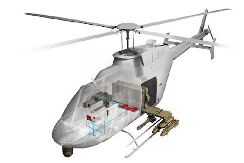 The system converts helicopters like the Bell 407 (shown) and MD 530Gfor surveillance and precision strike missions.