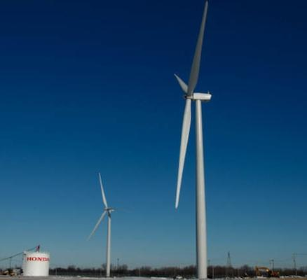 Two wind turbines supply 10% of the energy for Honda Transmission's plant in Russells Point, Ohio.(Source: Honda)