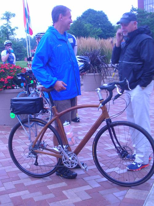 Jay Kinsinger prepares to ride his wooden bike from the University of Dayton to the University of Notre Dame (238 miles). He was part of a team of riders from Cedarville University who were supporting the pro-life work of the Life Resource Center in Dayton, Ohio.   (Source: Mark D. Weinstein)