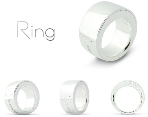 The Ring, currently the subject of a Kickstarter project, is designed to be the future of input for myriad devices. The metal ring, which the user wears on a finger, has sensors and electronics built in. It connects through finger and hand gestures and Bluetooth to smart devices, allowing people to communicate with them and perform all their usual functions without a keyboard, input screen, or mouse.(Source: Logbar Inc.)