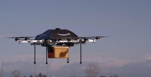 The goal of Amazon's helicopter delivery system is to get packages into customers' hands in 30 minutes or less using unmanned aerial vehicles. Putting Prime Air into commercial use will take some number of years as we advance the technology and wait for the necessary FAA rules and regulations.   (Source: Amazon)