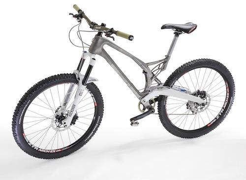 The complete MX6-EVO mountain bike designed by Empire Cycles, with 3D printed titanium alloy frame and seat post bracket manufactured by Renishaw.   (Source: Renishaw)