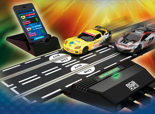 Scalextric's RCS slot racing system uses a Nordic Semiconductor Bluetooth wireless chip in its powerbase to send race data to a smartphone.   (Source: Scalextric)