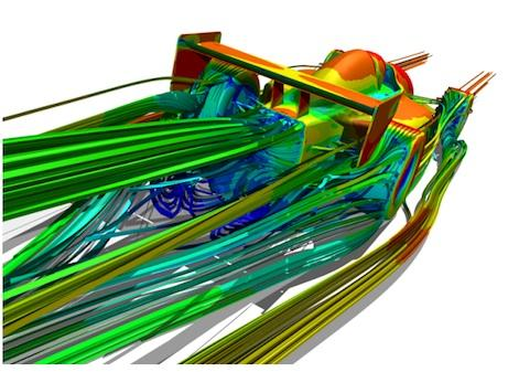 Airflow simulation. The image shows the flow of air over an open-wheel race car. The streamlines are coded by velocity magnitude where blue is low and red is high. In the case of aerodynamic design of an open-wheel race car, the initial concept model would represent the wheels, body, under tray (diffuser), rear and front wings. With this simple geometry setup you can freely move or modify the airfoils and body independently to find an optimal configuration based on lift and drag values from the Computational Fluid Dynamics (CFD) simulation.   (Source: National Center for Manufacturing Sciences)