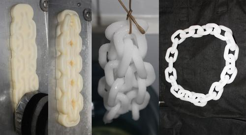 Researchers at Montreal's McGill University have been developing 3D printing with ice for use as a commercial and industrial prototyping and modeling material, as well as  for making temporary inhabitable structures. Shown here, the construction process for making a chain from ice.   (Source: McGill University)