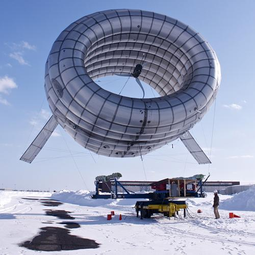 A company spun off from MIT research called Altaeros Energies has designed a helium-filled wind turbine that floats above the ground and harnesses high-altitude winds.  (Source: Altaeros Energies)