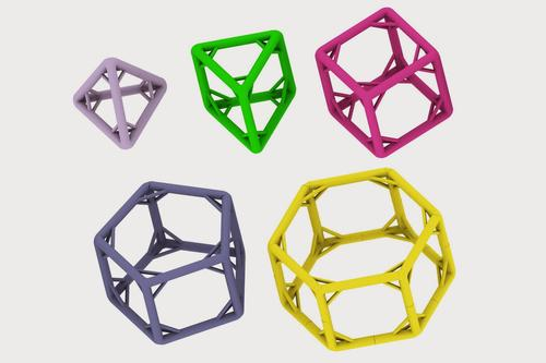 Researchers at Harvard's Wyss Institute have developed some of the biggest self-assembled building blocks and structures made from engineered. The cage-shaped polyhedra shown here have struts stabilizing their legs. The largest, a hexagonal prism (right), is one-tenth the size of an average bacterium.(Source: Yonggang Ke/Wyss Institute)