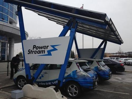 Electric cars at PowerStream are being charged via a solar carport as part of a microgridset up in collaboration with GE.(Source: PowerStream)