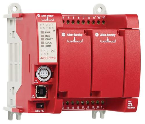 The Allen-Bradley Guardmaster 440C-CR30 from Rockwell Automation is a software-configurable safety relay machine builders can use to help ensure the development of safer equipment. The new safety relay can be configured and integrated through Rockwell's Connected Components Workbench to program standard and safety logic in separate devices. The new Guardmaster 440C-CR30 is best suited for applications requiring four to 10 safety circuits and control of up to five zones.   (Source: Rockwell Automation)
