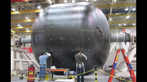 NASA and Boeing developed a huge, carbon composite cryogenic fuel tank for deep space missions, and started testing it last month under flight-like conditions at Marshall Space Flight Center. The outer shell of the 18-ft-diameter cryotank is the same size as propellant tanks used on today's full-size rockets, and will enable heavy-lift launch vehicles to send both humans and robots into deep space.