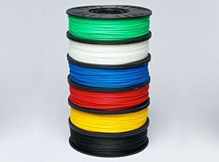 A 3D-printed bioplastic ABS filament from Sierra Resins will be initially available in the typical ABS filament colors shown here -- including white, black, red, blue, yellow, and green -- plus transparent and a natural color.   (Source: 3DPrintlife)