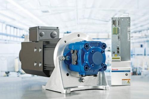 The newest generation of hydraulics technology, such as Rexroth's Sytronix variable-speed-pump drive system, integrates powerful, energy-efficient hydraulic pumps with advanced, intelligent electronics and controls.  (Source: Rexroth)