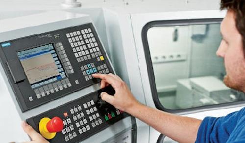 Siemens Sinumerik 808D HMI with operator.