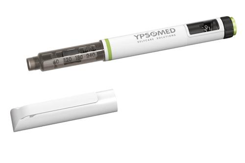 Switzerland's Ypsomed AG specified a new grade of acetal resin, DuPont's ultralow-friction Delrin SC699, for use in the dial sleeve of this disposable, variable-dose injector pen. The dial sleeve is located between the housing and the piston rod and is used by the patient to set the required dose of insulin to be injected. It interacts mechanically with the piston rod, which then dispenses the required dosage. 