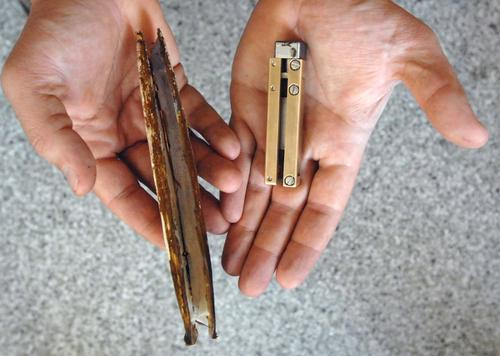 The RoboClam effector device (right) emulates the valves that enable an Atlantic razor clam (left) to dig deeper and wedge itself more securely than might be thought possible, given its size.(Source: Donna Coveney/MIT)