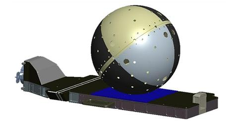 This illustration of the Cyclops Deployment System flight hardware shows an attached SpinSat satellite.  (Source: NASA)