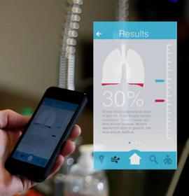 Osman Cueto, of Drexel University's first graduate class of product design majors, created BREATHE: The Connected Inhaler, a revised version of an inhaler for asthma sufferers that includes a mobile app for smartphones.  (Source: Drexel University)