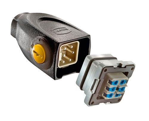 The Harting Han-Yellock 10 connector lineup was designed to add a new, smaller size. This line of modular industrial connectors can fit both rectangular and circular panel cut-outs, allowing direct replacement of circular connectors with a panel cut-out diameter between 28 mm and 30 mm. It joins the Han-Yellock sizes 30 and 60, and comes with either cable glands M20 or M25, top or angled entry. The Han-Yellock line's internal-latched locking/unlocking mechanism for extremely fast field connections has been incorporated into the Han-Yellock10.