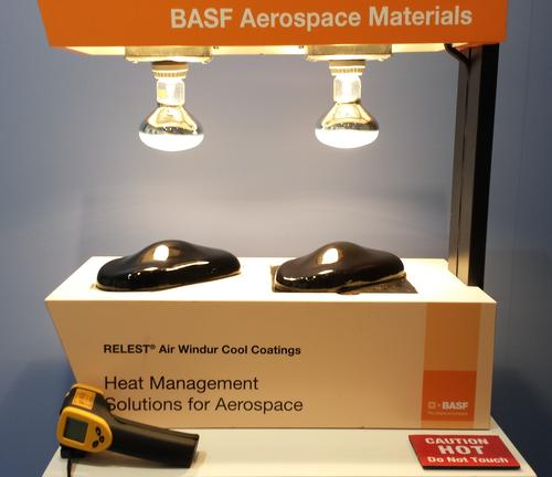 BASF demonstrated its RELEST Air Windur Cool Coating system at the Aircraft Interiors Expo 2014. The system consists of an infrared Reflective Primer combined with an IR Management Topcoat. This heat-reflective coating technology has optimized spectral behaviors that make it possible to formulate dark colors that reduce the effects of heat in sunlight. The company also exhibited samples of a load-bearing floor created using its Baxxodur latent cure infusion epoxy system that is 40% lighter than existing aluminum load floors. It can support a 4,200 psi compressive load and is formulated to meet FAR 24.853 fire requirements.