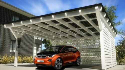 BMW has teamed up with German photovoltaic technology provider SOLARWATT to design a solar carport customized for BMW's i3 and i8 EV and hybrid sports car. The carport, which also can be used to provide solar energy to someone's home, will be available in the second half of the year.   (Source: BMW)