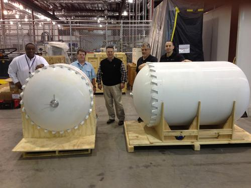 Lockheed Martin and RedEye have 3D-printed two rocket fuel tank prototypes, the biggest of which is 6.75 ft. long. The project took much less time than traditional manufacturing methods, at about half the cost. The tanks were printed in pieces of a polycarbonate material using a Stratasys Fortus 900mcs.