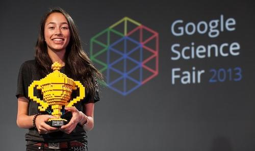 Ann Makosinski, 16, of Victoria, British Columbia, made headlines last year with the invention of an energy-harvesting flashlight that can run solely on heat generated by the human hand. She won the 15-year-old to 16-year-old prize in the 2013 Google Science Fair for her Hollow Flashlight, which uses the Seebeck effect to create a thermal energy generator for the flashlight. The Hollow Flashlight wasn't Makosinski's first invention -- she also developed a piezoelectric flashlight and a solar sandwich, and continues to develop new products she plans to patent and possibly commercialize.  (Source: Google)