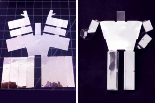 Before-and-after still photos from the video 'An End-to-End Approach to Making Self-Folded 3D Surface Shapes by Uniform Heating' by a team of MIT researchers that has come up with a way to create robots that self-assemble when heated. The left image shows the self-folding sheet for a humanoid shape, while the right image shows the completed shape.  (Source: MIT)