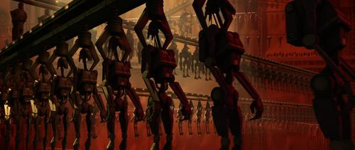 The Droid Factory is one of the highlights of Star Wars Episode II. The shots of the fully automated factory with thousands of droids in production are exquisite.   (Source: starwars.wikia.com)