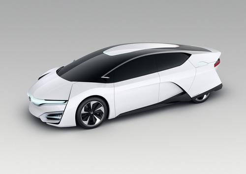 Honda Motor Co. plans to launch a hydrogen-powered production car in 2015. The company says the FCEV Concept is the first vehicle to pack the entire fuel cell powertrain into the engine compartment. In the past, fuel cells were typically too large to fit under the hood and had to be located under the center of the car.(Source: Honda Motor Co.)