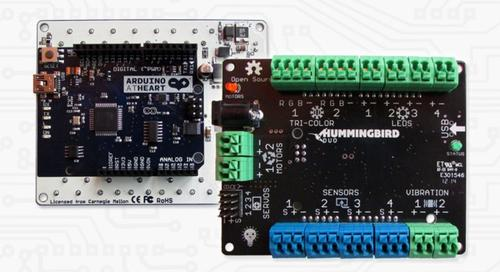 The Hummingbird Duo, which features both Hummingbird and Arduino Leonardo controllers.  (Source: Kickstarter)