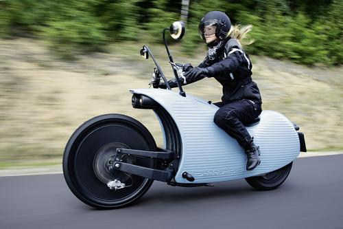 Manufactured in Austria, Johammer's J1 is designed from the ground up to be electrically powered. As a result, its styling is unlike that of any conventional motorcycle. The J1 has no instrument panel -- its speedometer and charge indicator are integrated into the side mirrors. The unusual appearance is also a result of its use of a big lithium-ion battery, which provides a range 120 miles (200 km).   (Source: Johammer)