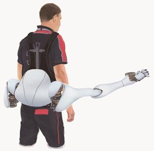 Researchers at MIT's d'Arbeloff Laboratory are developing shoulder- and hip-mounted extra robotic arms that will act as a natural, intuitive extension of the body. The goal is for the human wearing them to forget they're there because the limbs' movements will be so tightly coupled and closely coordinated with the human's own movements. Shown here is a concept of how the final hip-mounted product would look.