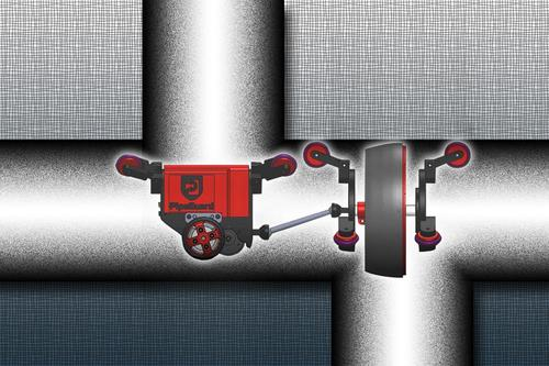 A self-propelled robot developed by a team of researchers headed by MIT promises to detect leaks quickly and accurately in gas pipelines, as shown in this artist's illustration. The robot may also be useful in water and petroleum pipe leak detection.  (Source: Christine Daniloff/MIT)