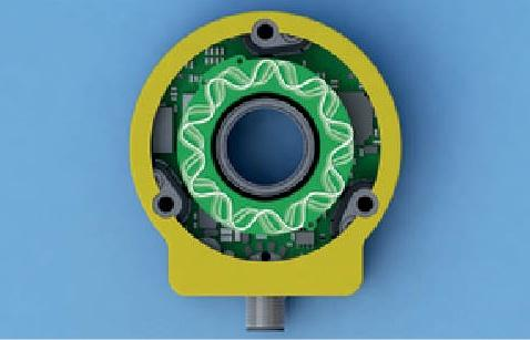 This top view of TURCK's contactless rotary technology shows the emitter coils set into an inductive resonance coupling circuit. The coils are charged with voltage that resonates to and induces receiving coils on the position element. As the charge alternates back to the emitter coils, it reflects back and calculates the position.(Source: TURCK)