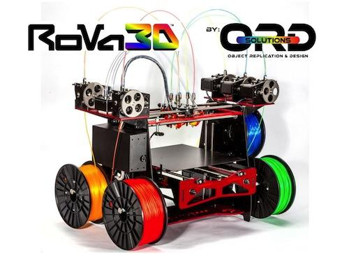 ORD's RoVa3D printer can use five different materials in multiple colors for customized creations.