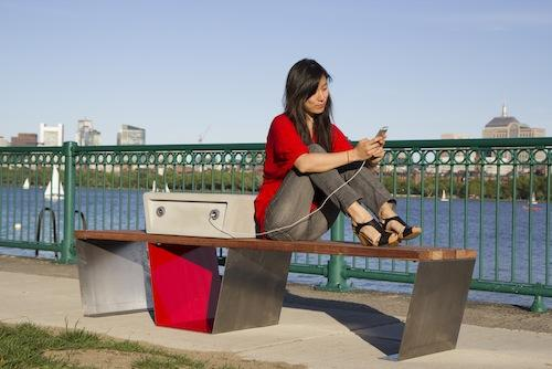 Soofa is a smart bench developed by Changing Environments, a startup spun off from the MIT Media Lab. The bench is solar-powered and provides mobile device charging as well as collects environmental information via wireless sensors and posts that information on the Soofa website. Soofas are currently being used in Boston and Cambridge.   (Source: Changing Environments)