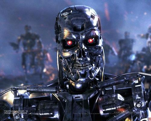 1991 Terminator 2: Judgment Day: The second film in the series is set 11 years after the first film. It opens with the 1997 nuclear holocaust event. Then the time frame shifts to the year 2029 in Los Angeles where a silvery, skeletal, humanoid machine holds a massive battle rifle. It scans the black horizon of the war-torn terrain, revealing its red, glowing eyes. A battle is in progress between human guerrilla troops and the robot terminators. The sleek, more modern android is composed of poly-mimetic metal, meaning it can take on the shape, color, and texture of anything it touches. It can also mimic human behavior, such as imitating the voices of its victims.   (Source: roundtree7.com)
