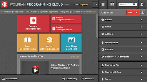 Wolfram Programming Cloud Interface   (Source: Wolfram)
